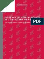 2011 Catalogue Ventes aux enchères publiques de l'Elevage des Rouges