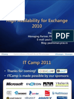 ITCamp 2011 - Paul Roman - High Availability for Exchange 2010