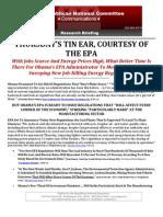 THURSDAY'S TIN EAR, COURTESY OF THE EPA