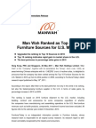 Man Wah Ranked as Top 10 Furniture Sources for U.S. Market
