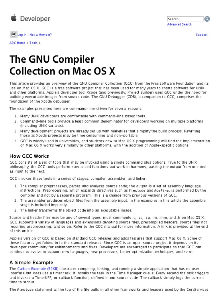 The GNU Compiler Collection on Mac OS X Development