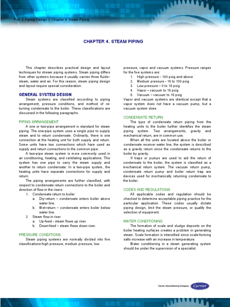 carrier chapter 3 piping design boiler steam rh scribd com Carrier Air Conditioner Manuals Carrier Service Manuals