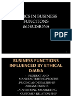 Ehics in Business Functions &Decisions