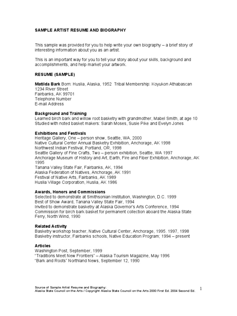 Sample Artist Resume And Biography Alaska Library And Museum