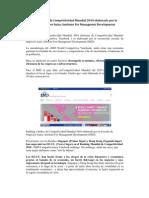 Ranking e Índice de Competitividad Mundial 2010 elaborado por la Escuela de Negocios Suiza