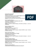 Programación Casa de la Cultura El Ávila