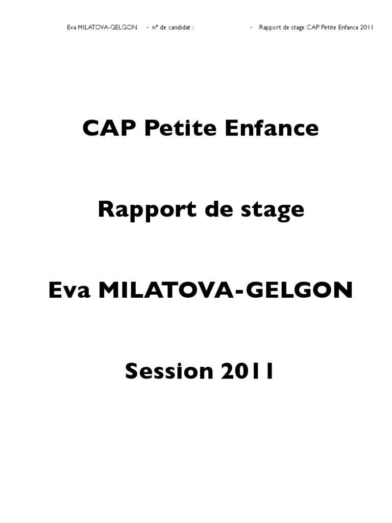 Modele rapport de stage cap petite enfance document online for Rapport de stage en cuisine exemple