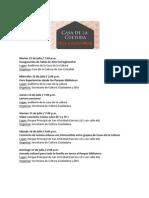Programación Casa de la Cultura San Cristóbal