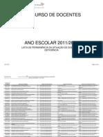 Lista de permanência da situação de doença ou deficiência 8 Julho 2011
