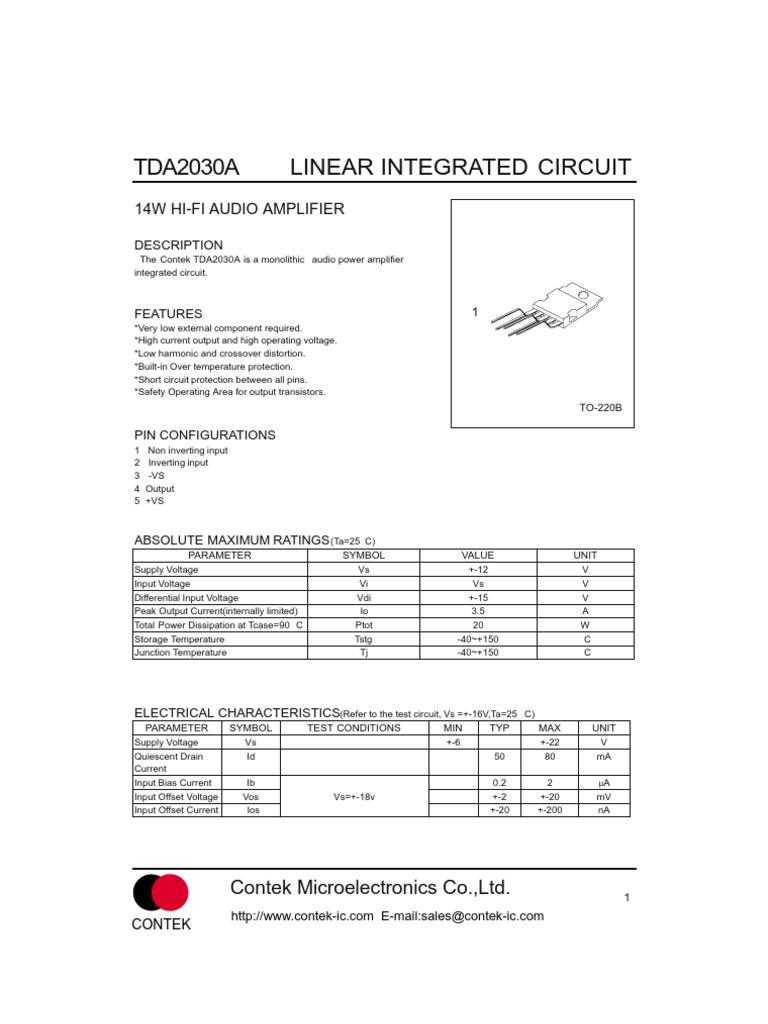 Tda2030a Amplifier Loudspeaker Tda2030 Bridge 35 Watt Power Circuit And Explanation