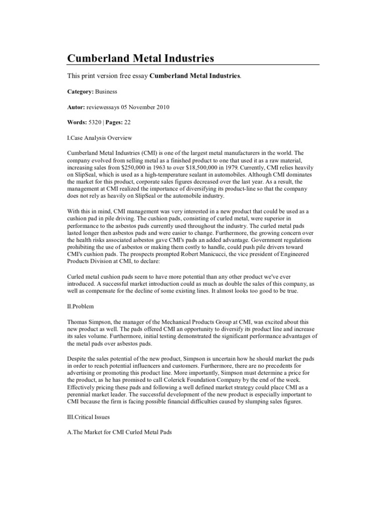 cumberland metal industries case analysis