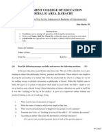 Sample Admission Test B.Ed -Govt College of Education Karachi