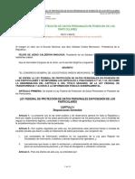 Ley Federal de Protección de Datos Personales en Posesión de  los Particulares