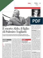 È morto Aldo, il figlio di Palmiro Togliatti