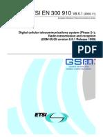 58761177 ETSI en 300 910 V8 5 1 GSM 05 05 GSM Radio Transmission and Reception