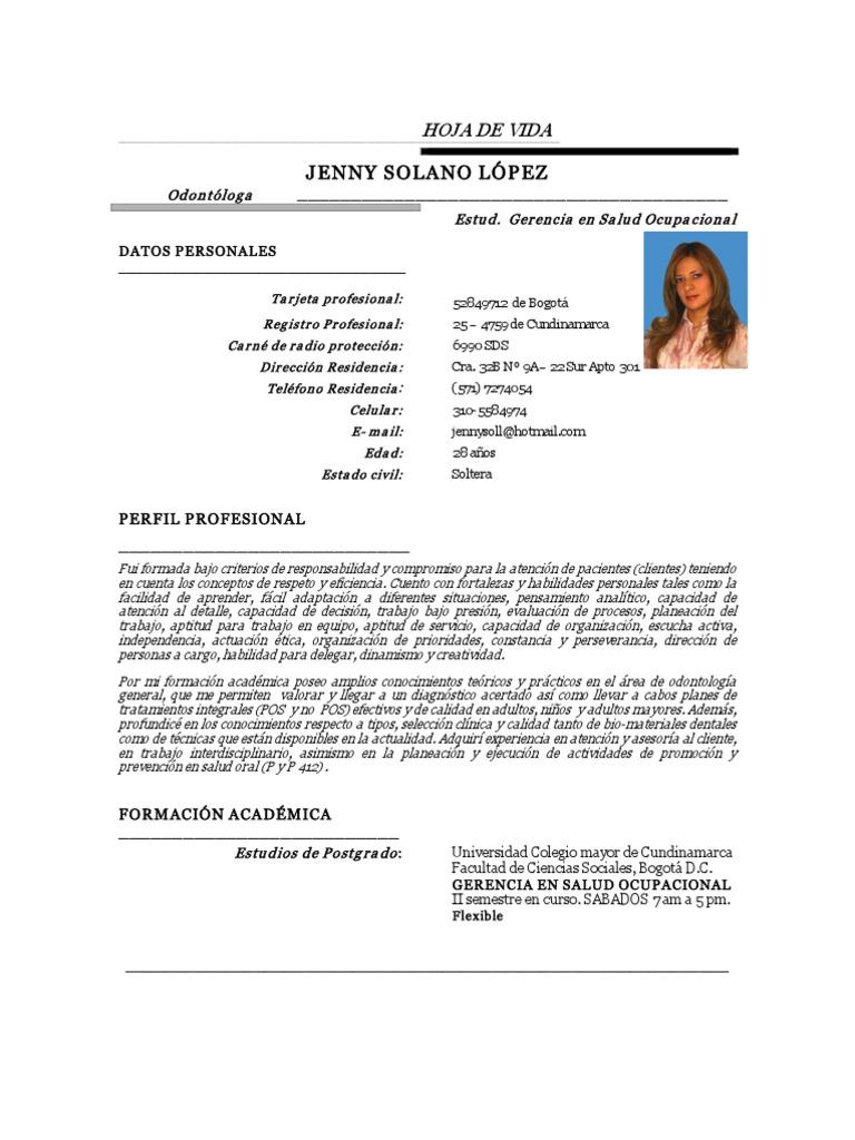 Increíble Ejemplos De Hoja De Vida Dental Colección - Colección De ...