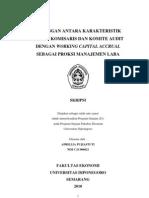 Hubungan Antara Karakteristik Dewan Komisaris Dan Komite Audit Dengan Working Capital Accrual Sebagai Proksi Manajemen Laba