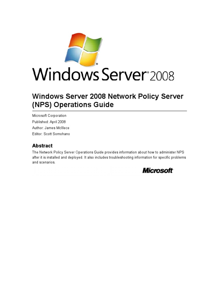 Windows Server 2008 Network Policy Server (NPS) Operations Guide | Radius |  Remote Desktop Services