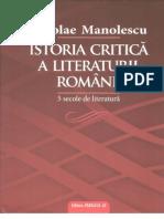 Cuprins Istoria Critica a Literaturii Romane Manolescu