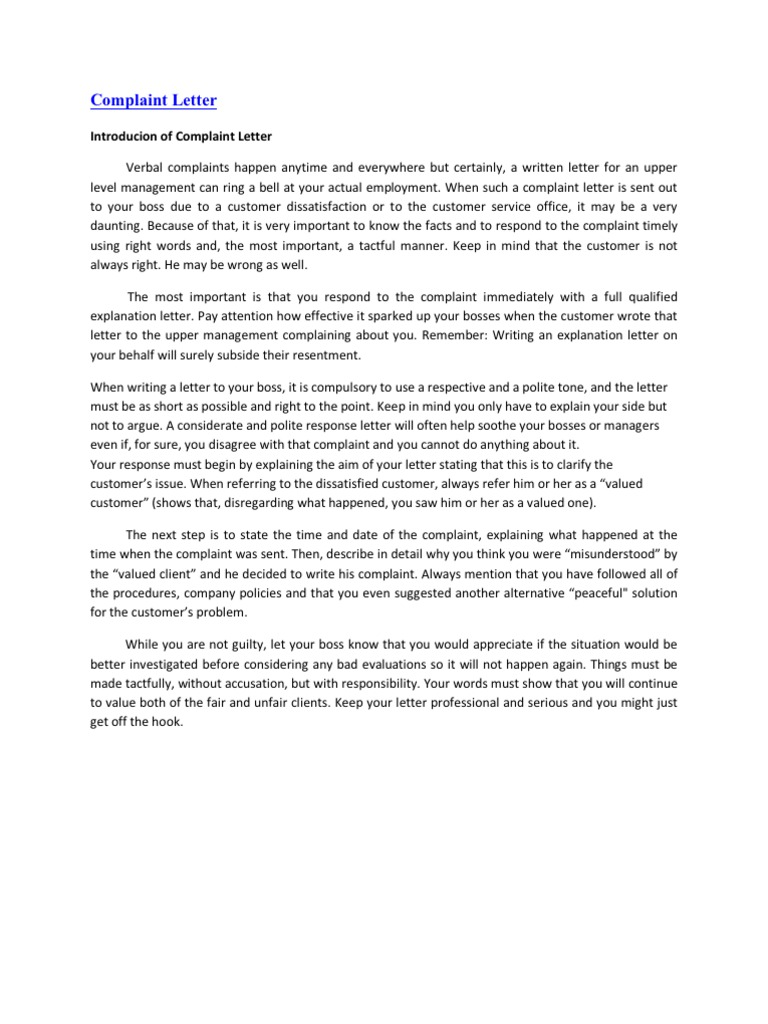 Service Complaint Letter Complaint Letter Sample For Poor Service At