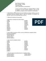 Lista de Exercícios - Acidos, nomenclatura e propriedades