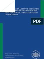 Low Frequency Acoustic Excitation and Laser Sensing of Vibration as a Tool for Remote Characterization of Thin Sheets