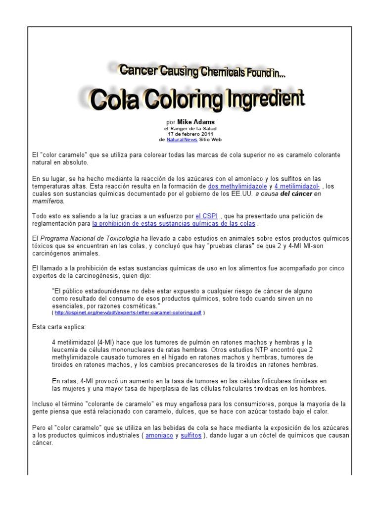 Productos químicos que causan cáncer encontrados en Cola para ...