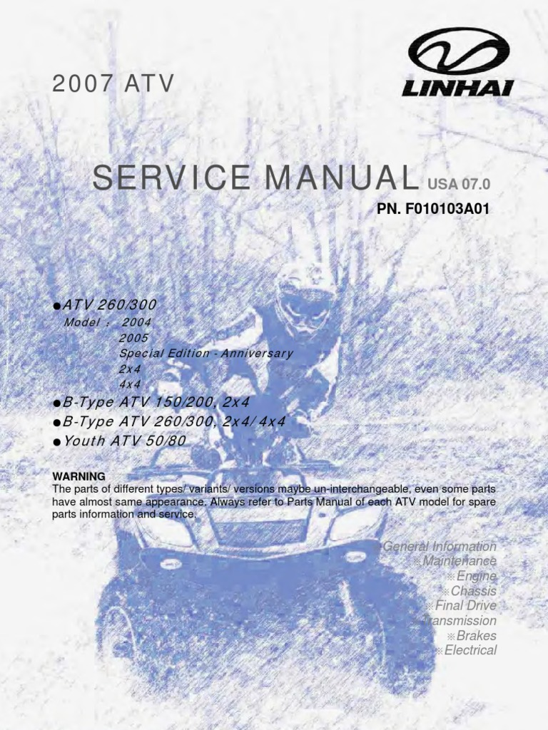 linhai atv engine service manual up to 300cc 1 tire rh scribd com Linhai 300 Scooter Review Linhai 300 UTV