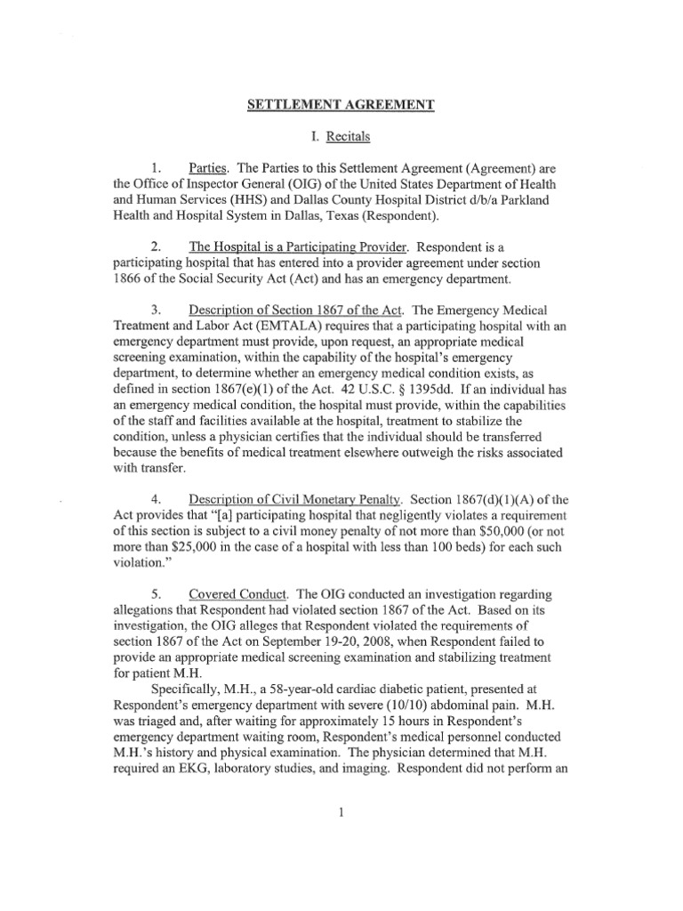 Parkland Settlement Agreement Emergency Department Justice