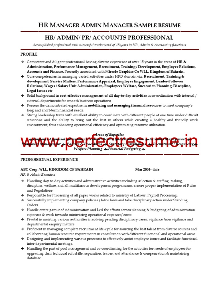 HR Manager Admin Manager Resume Sample   Employment   Recruitment