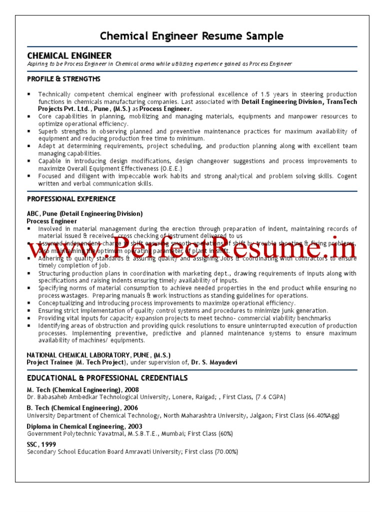 Chemical Engineer Resume Sample | Chemical Reactions | Chemical Engineering