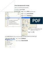Notes for Microsoft Word