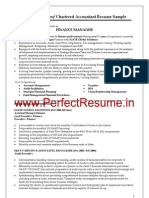 Finance Manager, Chartered Accountant  Resume Sample