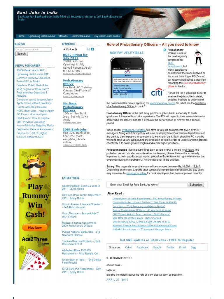 Www.bankexamsindia | Test (Assessment) | Recruitment
