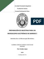 PREPARACIÓN DE MUESTRAS PARA UN MICROSCOPIO ELECTRÓNICO DE TRANSMISIÓN I -  Carlos David Gonzales Lorenzo
