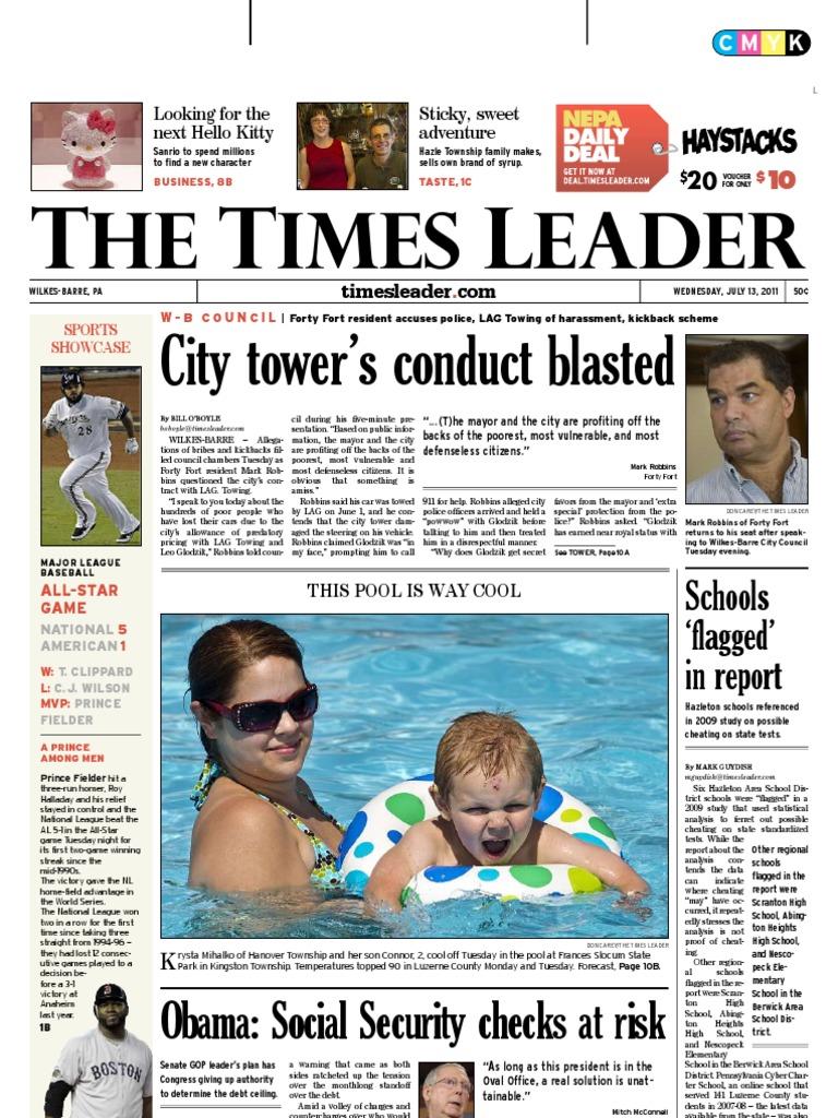 Times Leader 07-13-2011 | Bashar Al Assad | Lawsuit