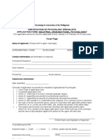 IO Psychologist Application Form