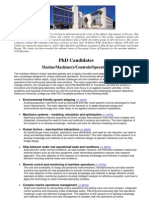 PhD Candidates Marine Machinery Controls Operations