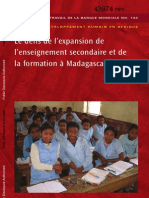 Le défis de l'expansion de l'enseignement secondaire et de la formation à Madagascar (World Bank - 2008)
