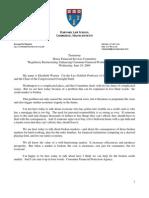 Elizabeth Warren Testimony - Regulatory Restructuring