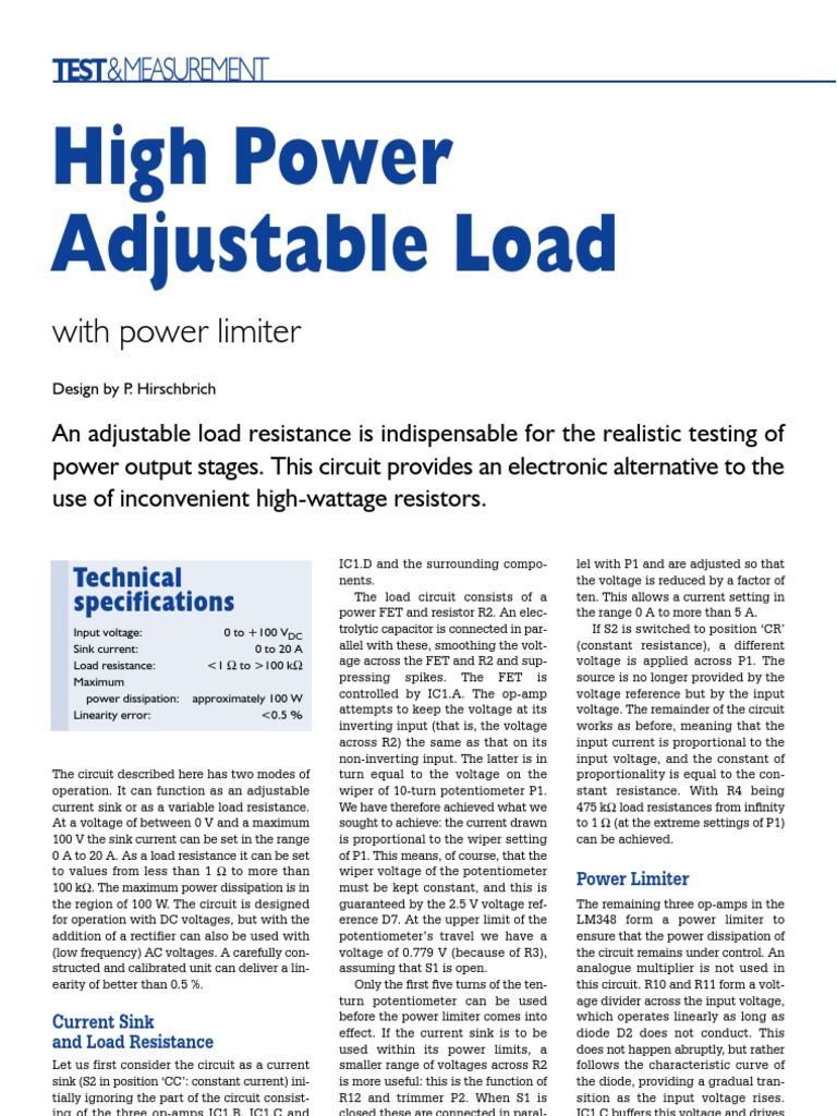 High Power Adjustable Load Operational Amplifier Electrical Create A Circuit Consisting Of Three Resistors In Series Resistance And Conductance