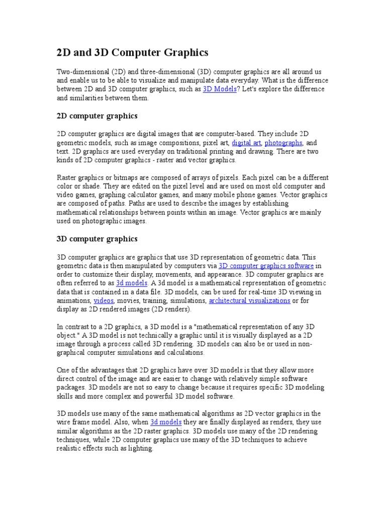 2D and 3D Computer Graphics | 3 D Computer Graphics | 2 D