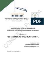 """19NL2011UD035 Manifestación de Impacto Ambiental del proyecto """"Estadio de Fútbol Monterrey""""  (Mayo 2011)"""