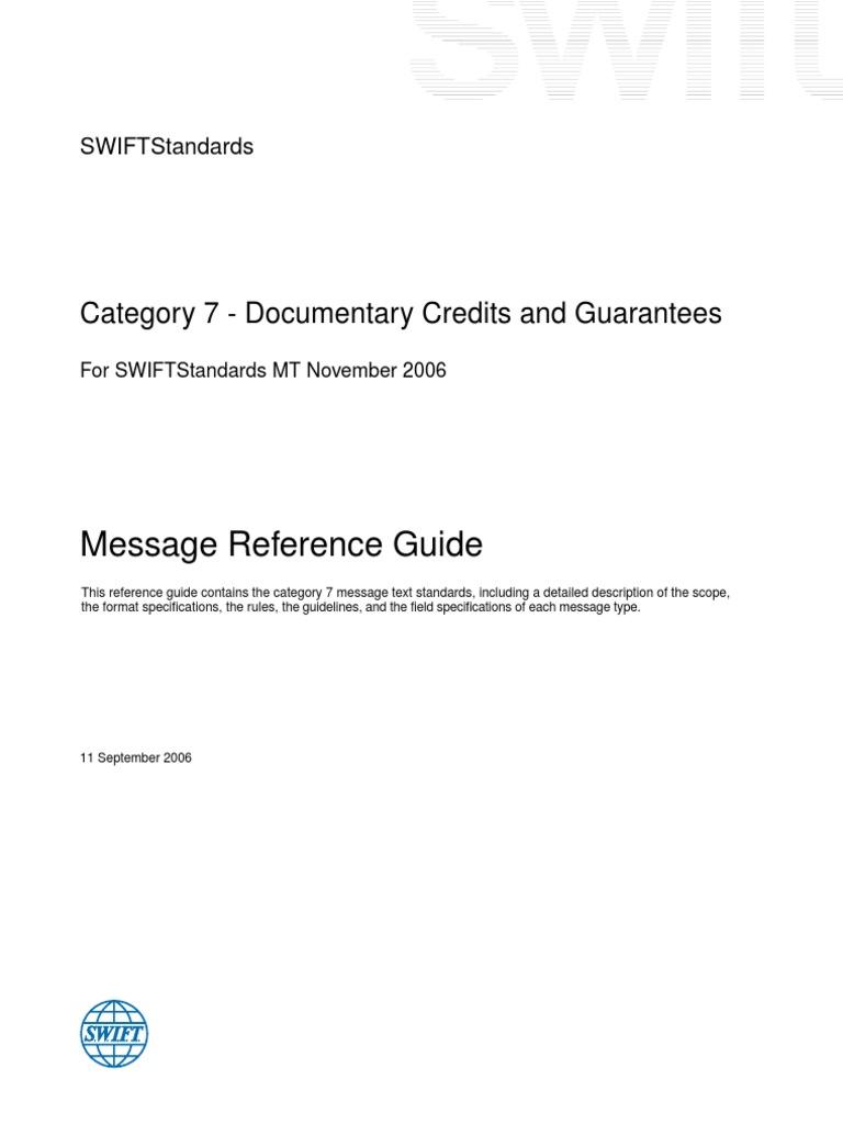 swift standards category 7 version 11 september 2006 letter of rh scribd com swift standards message reference guide 2017 Swift Message Standards MT101