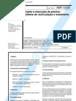 NBR 10339 - Projeto e execução de piscina - Sistema de recirculação e tratamento