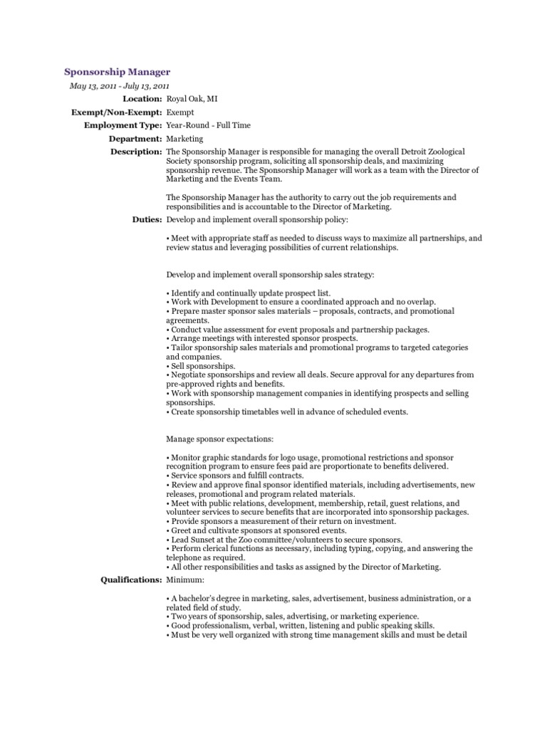 Sponsorship Manager Job Description – Program Director Job Description