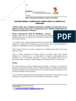 NOTA de PRENSA 13.07.11 - Canciller Maduro y Cumbre Celac