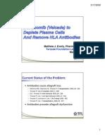 Bortezomib (Velcade) to Deplete Plasma Cells and Remove HLA Antibodies