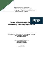 Types of Language Test Accdg to Lg. Skills
