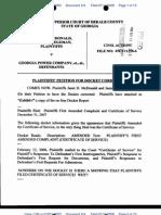 In Superior Court McDonald/Stegeman v. Georgia Power, et., al., Plaintiffs' Petition To Correct the Docket